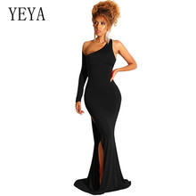 YEYA One Shoulder Long Sleeve Sexy Floor-Length Dress Elegant Hollow Out Bodycon Bandage Female Slim Skinny Vestidos