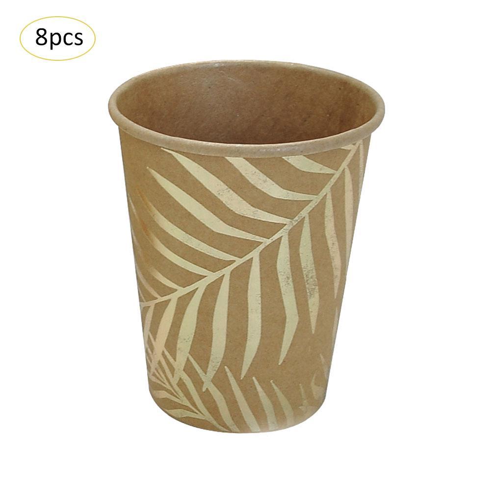 Одноразовые бумажные принадлежности для праздника набор столовых приборов Декоративный принт лотки для вечеринок Золотой цветной узор пальмовых листьев окружающей среды - Цвет: 02