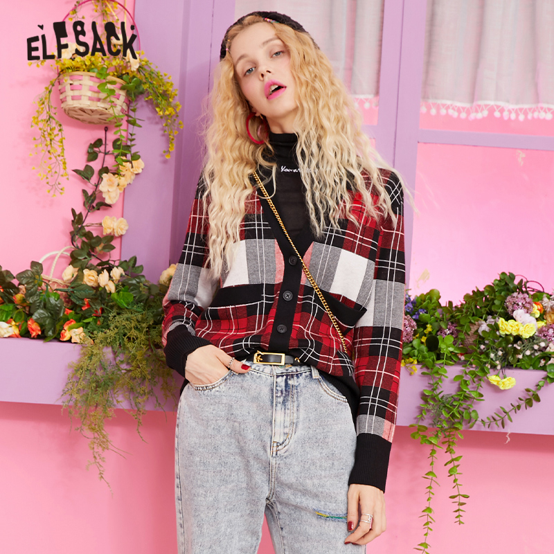 ELF SACK V Neck Button Front Plaid Casual Cardigan Sweater Women Clothes 2019 Autumn Korean Style Preppy Female Sweaters