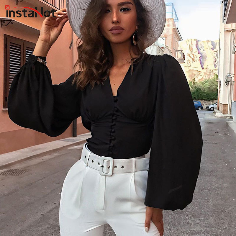 InstaHot Black Blouse Puff Sleeve Deep V-neck Modern Office Lady Long Sleeve Autumn Top Casual Sweet Blouse Shirt Women Hot Sale