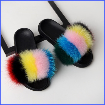 Real Fox Fur Slides Furry Indoor Slippers Women Home Shoes Woman Fluffy Flat Sandals Summer Designer Brand 2019 New Plus Size