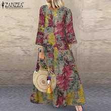 Zanzea feminino boêmio vestido de verão primavera o pescoço 3/4 manga floral impresso vestido longo kaftan casual plus size robe femme 5xl
