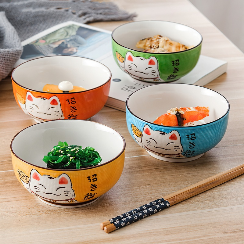 Multi-size Japanese Lucky Cat Round Ceramic Bowl Restaurant Household Bone China Salad Bowl Noodle Soup Bowl Tableware