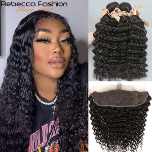 Rebecca Brazilian Deep Wave Bundles With Frontal Non Remy Human Hair 3 Bundles With 13x4 Lace Closure