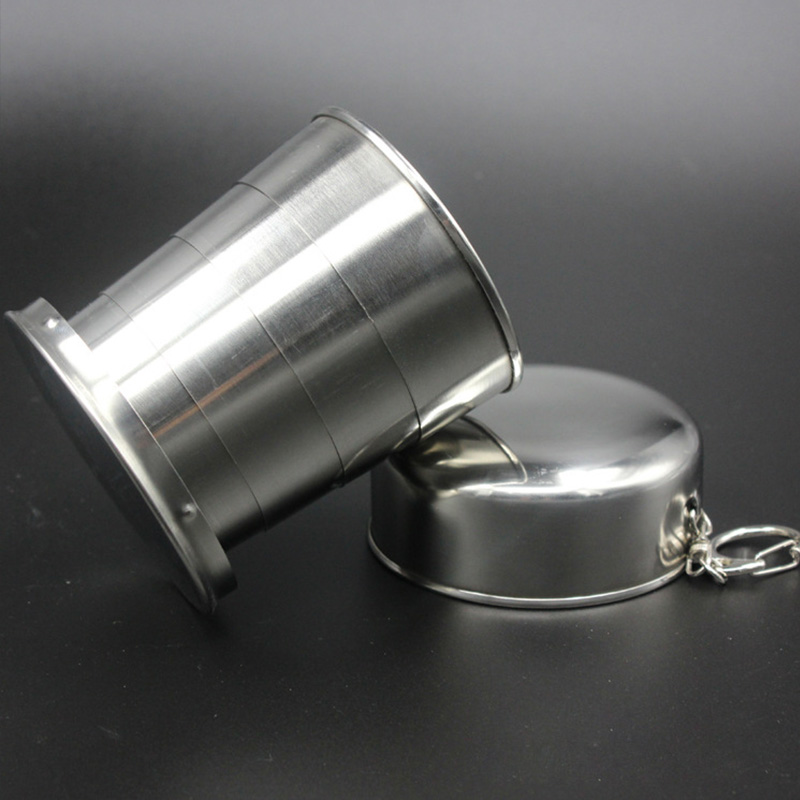 75ml 150ml 250ml Folding Cup Stainless Steel Retractable Collapsible Cups Demountable Portable Outdoor Travel Supplies Keychain 3