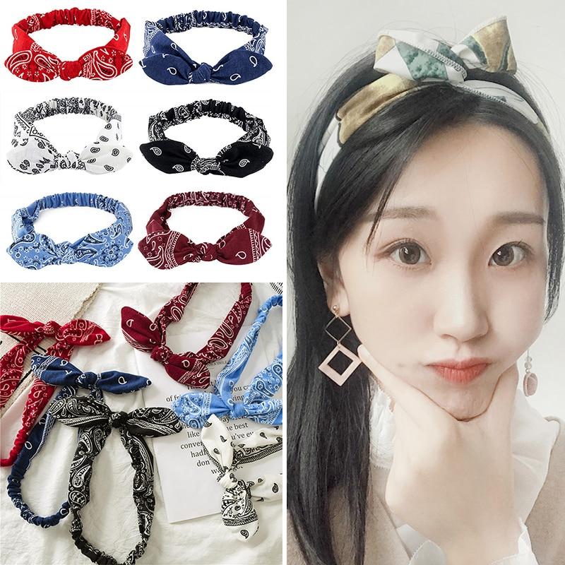 Hot Fashion Print Women Headband Rabbit Ears Knotted Elastic Hair Bands Cross Turban Head Wrap Sweet Cute Girls Hair Accessories