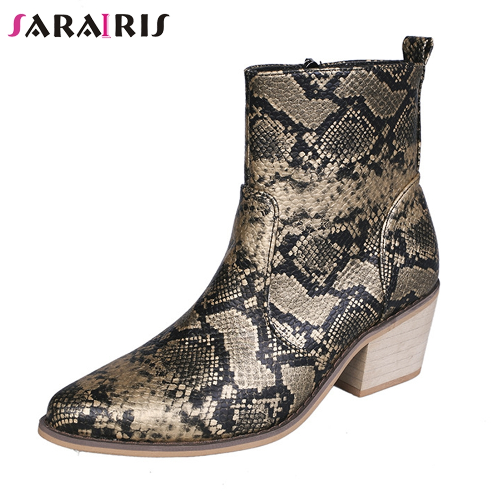 SARAIRIS Autumn New Drop Ship 35 43 Printed Chealsea Booties Ladies High Heels Ankle Boots Women 2019 Fashion OL Shoes Woman in Ankle Boots from Shoes