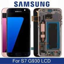 Orijinal 5.1 yedek Samsung Galaxy S7 G930 G930F G930FD SM G930F LCD ekran çerçeve ile dokunmatik ekran Digitizer ile
