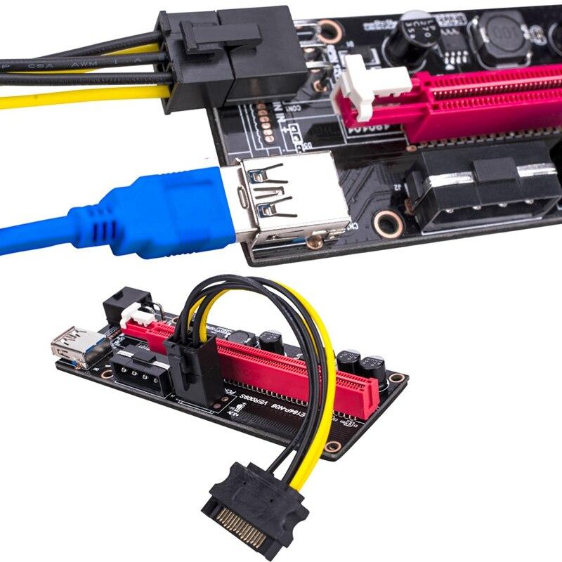 5Pcs Ver009 USB 3.0 Pci-E Riser Ver009S Express 1X 4X 8X 16X Extender Riser Adapter Card Sata 15Pin to 6 Pin Power Cable 4