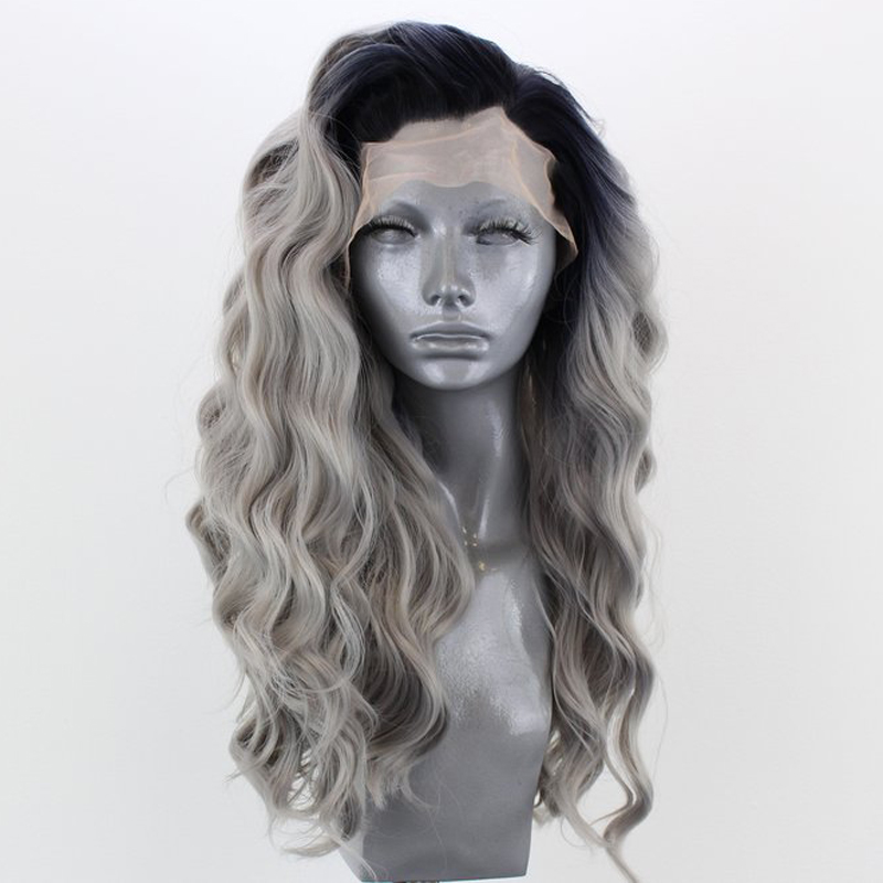 RONGDUOYI Long Wavy Ombre Gray Heat Resistant Synthetic Lace Front Wigs For Women Two Tone Grey Glueless Lace Wig With Side Part