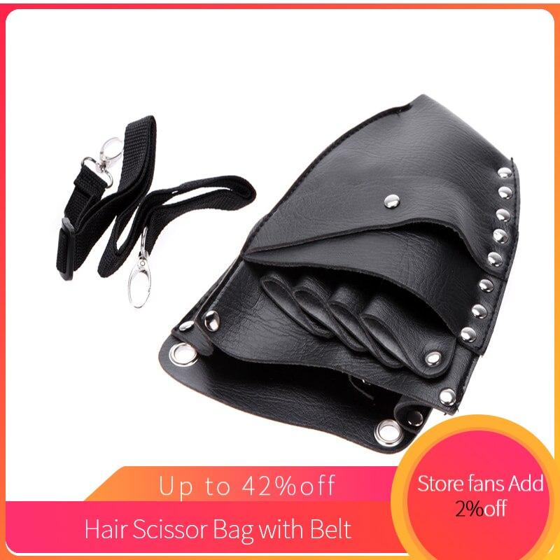 Leather Barber Scissor Storage  Hairdressing Holster Pouch Holder Case Rivet Clips Bag With Waist Shoulder Belt Hair Scissor Bag