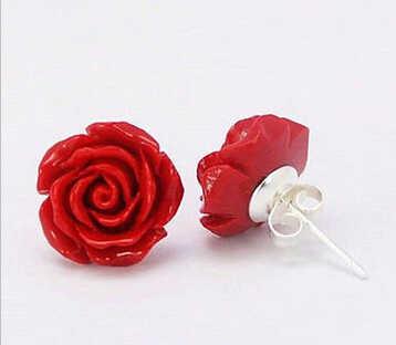 823 +++ แฟชั่นเครื่องประดับ 12mm Coral Red Rose ดอกไม้ 925 เงินสเตอร์ลิงต่างหู