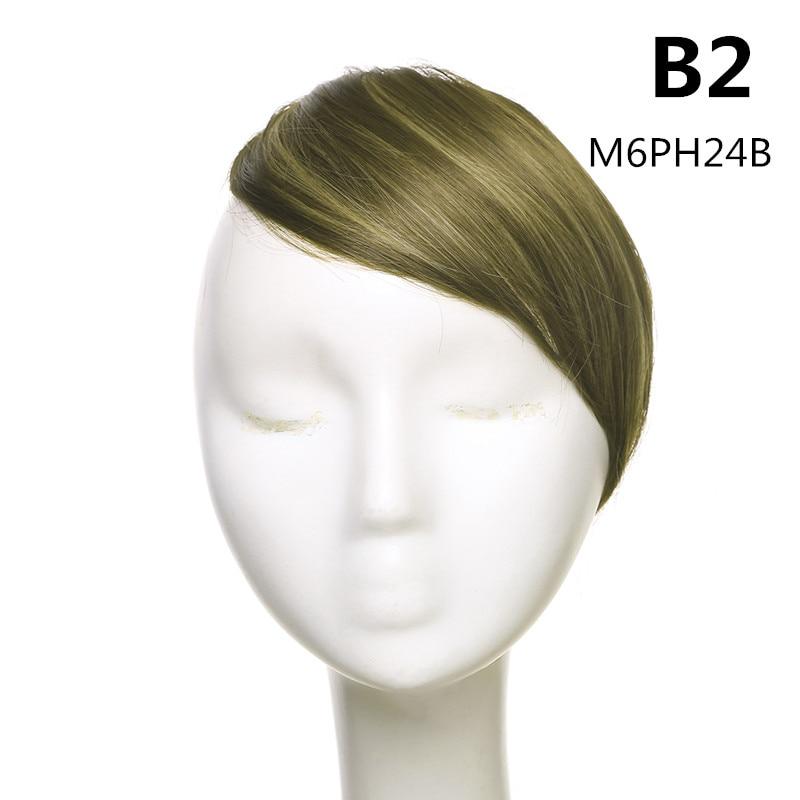 SARLA волосы челка клип в подметание боковая бахрома поддельные накладные взрыва натуральные синтетические волосы кусок волос черный коричневый B2 - Цвет: M6PH24B