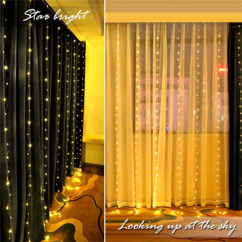 3m 300 led usb cortina lâmpada de controle remoto string luz ano novo decoração natal para casa quarto janela decoração da parede