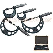 0-25 мм/50 мм/75 мм/100 мм/0,01 мм наружный набор микрометров с твердосплавным наконечником метрический винтовой штангенциркуль 4 шт. измерительные инструменты