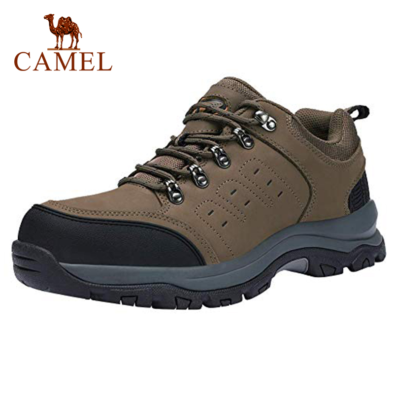 CAMEL Men Hiking Shoes Leather Upper Spring Durable Anti-Slip Waterproof Outdoor Mountain Climbing Trekking Shoes Eur 40.5-46