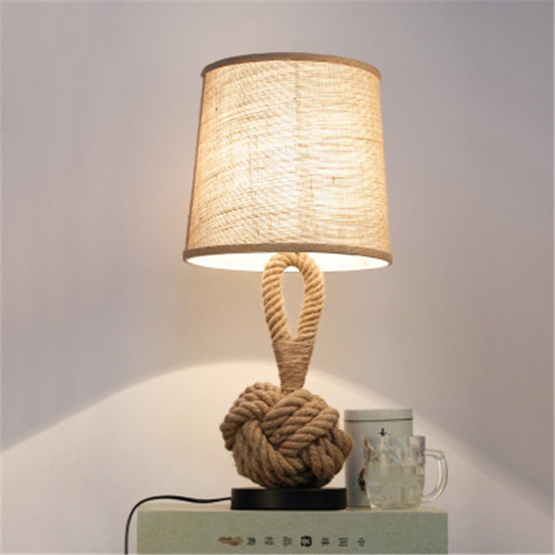 American Style Retro Personality Creative Bedroom Bedside LED Desk Light Study Cloth Hemp Rope Small Desk Lamp