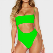 Neon Green Bathing Suits 2019 Cutout One Piece Swimsuits Bodysuit Ribbed White Push Up Monokini Swimwear Women High Waist S-L