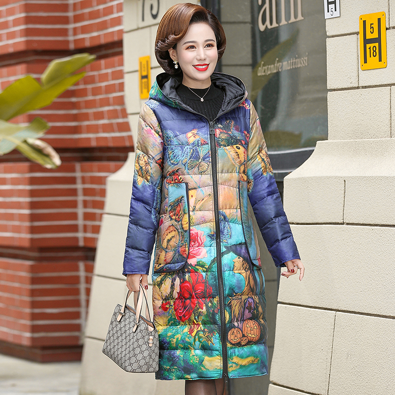 Winter Women Fashion Print White Duck Down Jacket Parka New Lightweight Warm Hooded Coat Female Long Slim Feather Overcoat
