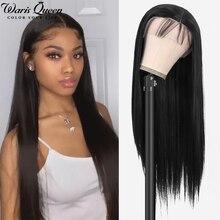 Peluca con malla Frontal Lisa para mujer, pelo sintético Natural, Cosplay negro, 26 pulgadas, resistente al calor, 13x4x1, peluca Frontal de encaje HD