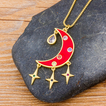fashion vintage black eclipse necklace women long chain celestial moon crescent pendant necklace jewelry accessories party dress Red Black Crescent Moon Rhinestone CZ Necklace Choker Chain Charm Pendant Necklace Women Jewelry For Masquerade Evening Party