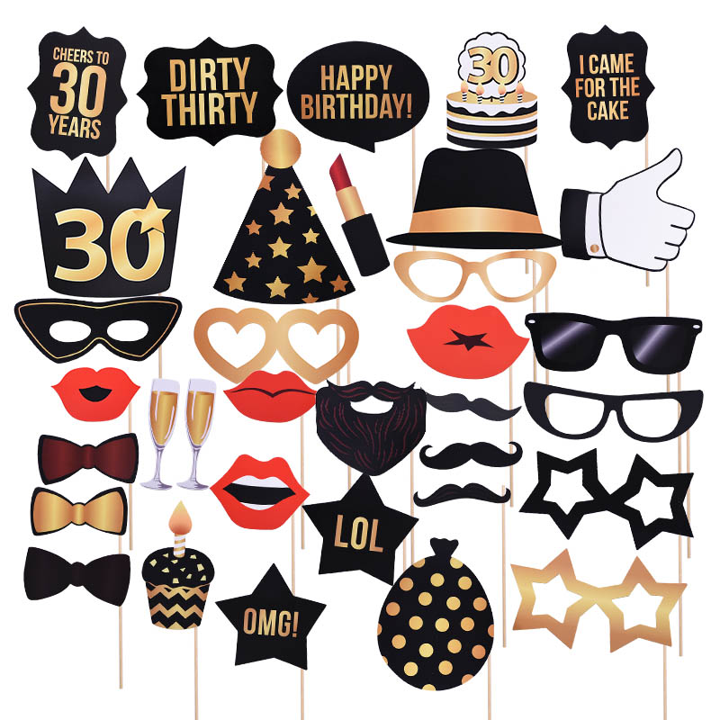 30 40 50 <font><b>60</b></font> <font><b>Happy</b></font> <font><b>Birthday</b></font> Decor Supplies 32inch Number Balloon Photo Props Banner Confetti For Adult Anniversary Party Ornament image