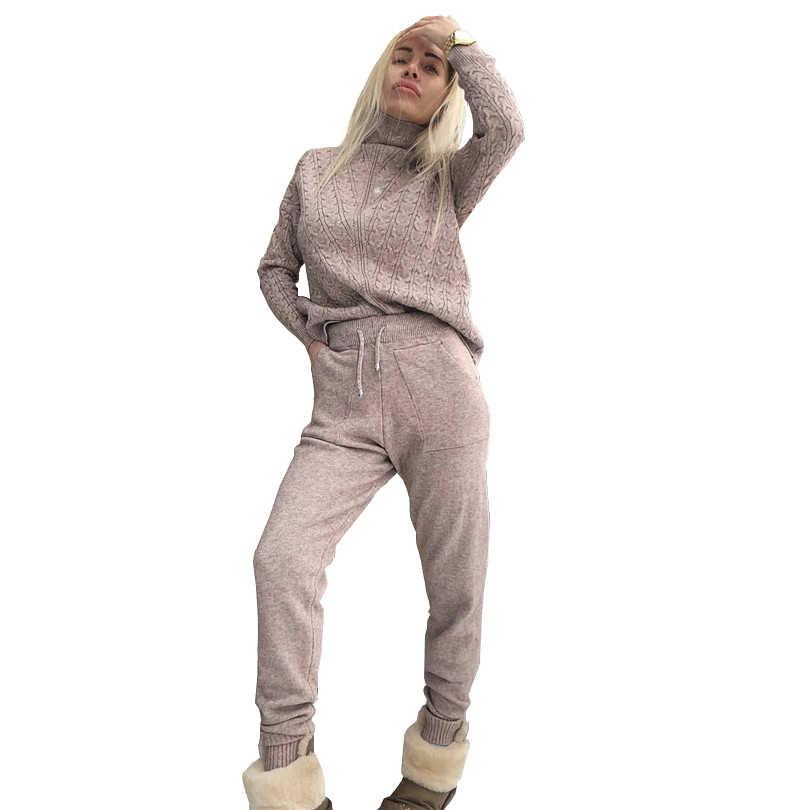 TAOVK damski sweter kombinezon swetry w stylu casual spodnie 2 szt dresy spodnie z dzianiny + bluzy topy odzież zestaw