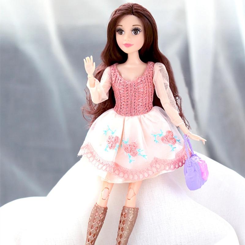 Neue 32cm Puppe 11 Beweglichen Gelenk Puppen Design Weibliche mit Kleidung Kleid Up Puppe Mode Haar Puppe Spielzeug für mädchen
