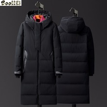Boolili Winter Men #8217 s Extra X-Long Thick Down Jackets Men Hooded White Duck Down Coats Casual Down Parkas Male Winter Overcoats cheap Slim 8013 zipper Full Pockets Wave Cut Zippers Thick (Winter) Broadcloth Acetate Polyester spandex Hat Detachable 200g-250g