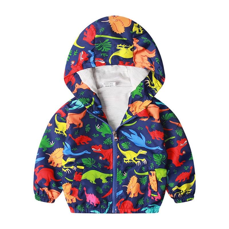 27kids 2-7 Years  Autumn Kid Jacket Children Hooded Coat Boys Outerwear Clothe Spring Windbreaker Toddler Cute Dinosaur 1