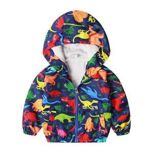 27kids Jacket Outerwear Windbreaker Dinosaur Children Hooded-Coat Toddler Boys Autumn