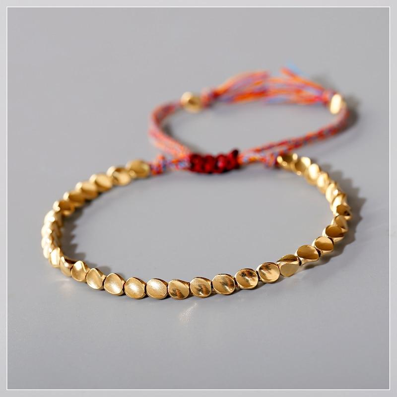 2020 New Boho Ethnic Irregular Gold Beads Bracelet Men Tribe Gypsy Adjustable Bracelet Femme Handmade Jewelry(China)