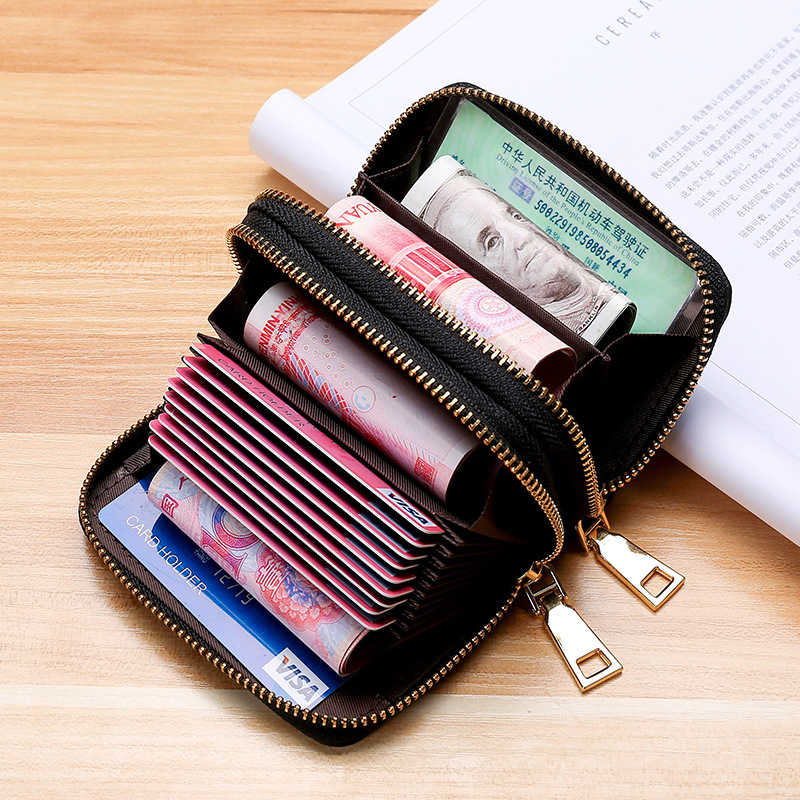 Business Card Holder Women/men Canvas Card Wallet Female/male Double Zipper Bank/Credit Card Holder Wallet 9 Bits + 4 Position