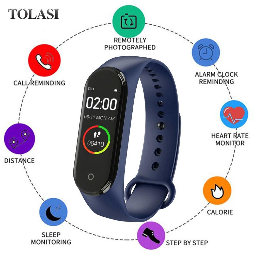 Sale Smart M4 Band Heart Rate Blood Pressure Monitor Sport Watch for Men Women Monitor Health Bracelet Waterproof Fitness Tracke