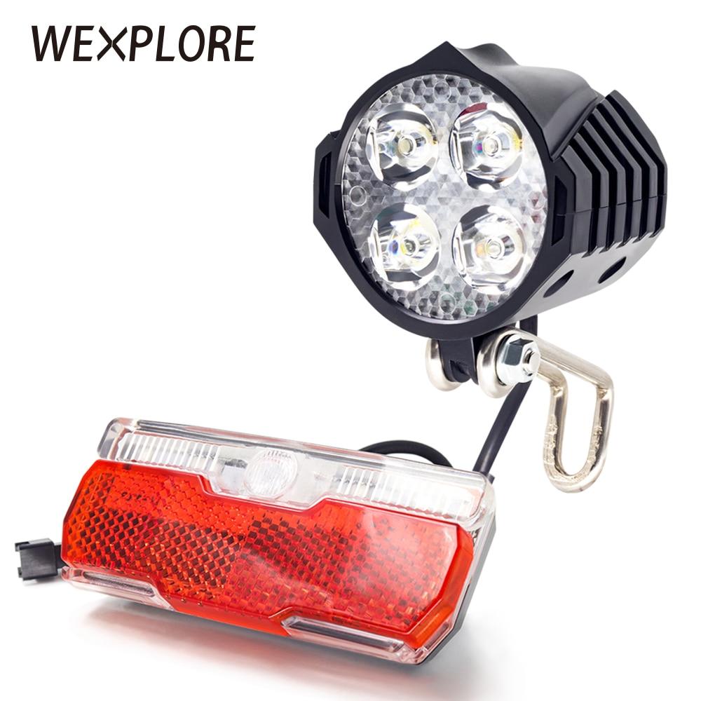 WEXPLORE Electric Bike Front And Ebike Rear Light Set Input 12V 24V 36V 48V 60V Built-in Speaker E-bike Headlight And Tail Light