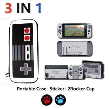 3 in 1 Nintend Switch Accessories Travel Carrying Bag NS Case & FC NES Game boy Sticker for Caps