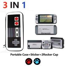Accesorios para Nintendo Switch 3 en 1, bolsa de transporte de viaje, funda de bolsa NS y pegatina FC NES Game boy para Nintendo Switch y gorras para NS
