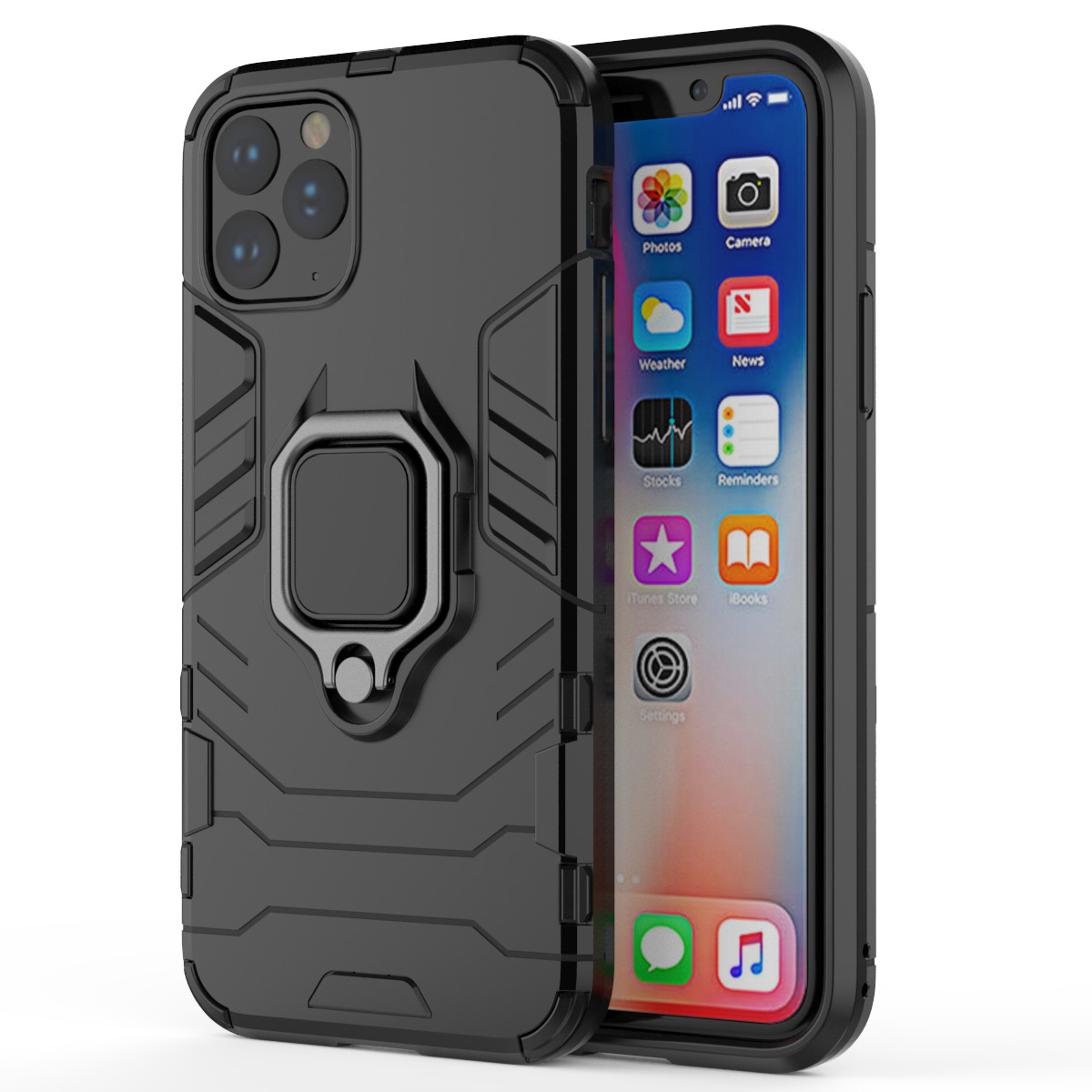 For New iPhone X XI 5.8 6.1 6.5 2019 Slim Shockproof Armor Hybrid Rubber Hard magnet car Stand Cover Case for new iphone
