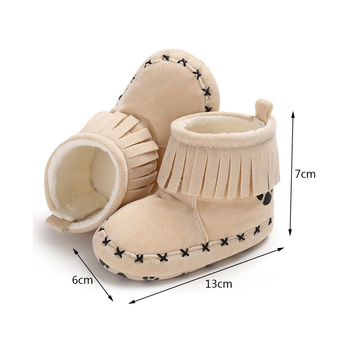 Toddler Baby Shoes First Walker Fringe Loop Cute Warm Indoor Shoes Christmas Gift Soft Soled Inner 11-13CM Walking Shoe 1
