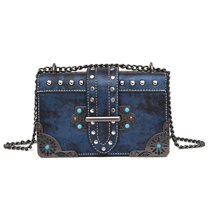 JUILE New Brand Women Bags Luxury Handbags Messenger Rivet Bag Girls Fashion Shoulder Ladies PU Leather Handbag