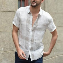 White Plaid Cotton Linen Shirt Men Retro Button Do