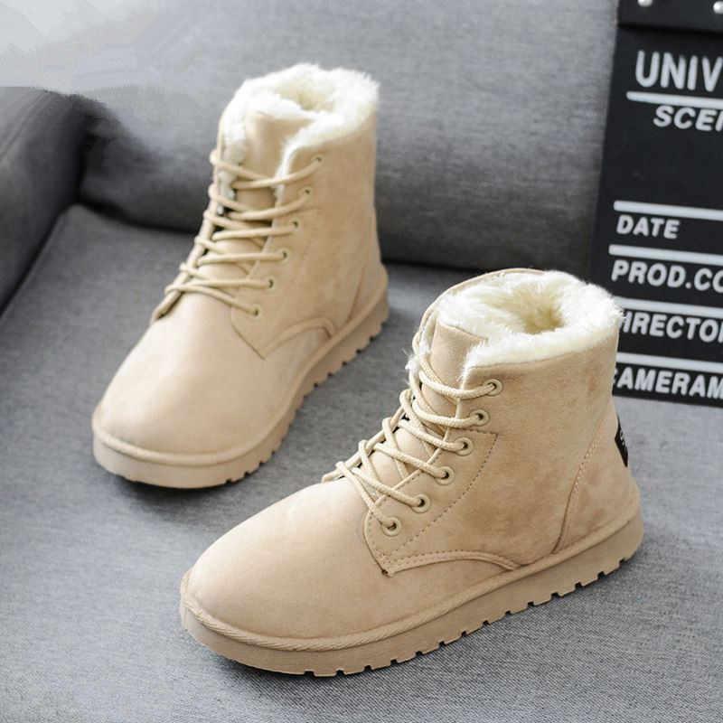 2019 ใหม่ผู้หญิงคลาสสิกฤดูหนาวรองเท้าข้อเท้าหิมะรองเท้าผู้หญิงรองเท้าใส่สบายคุณภาพสูง Botas Mujer ลูกไม้ -Up 35-40