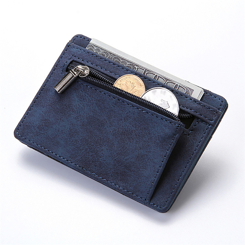 Ультратонкий мини-кошелек для мужчин, маленький деловой бумажник из искусственной кожи, волшебные кошельки для мелочи, кредитных карт