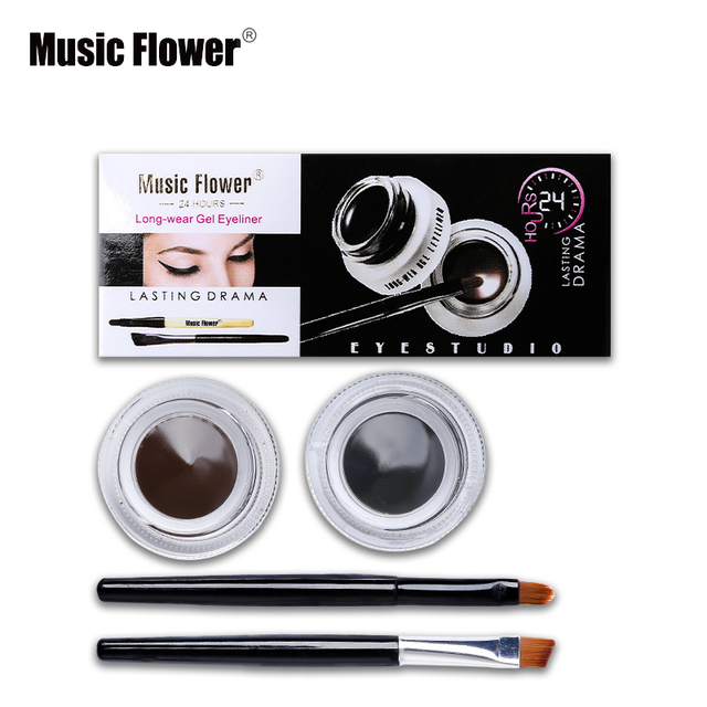 Best 2 in 1 Brown + Black Gel Eyeliner Make Up Water-proof And Smudge-proof Cosmetics Set Eye Liner Kit in Eye Liner Makeup 1