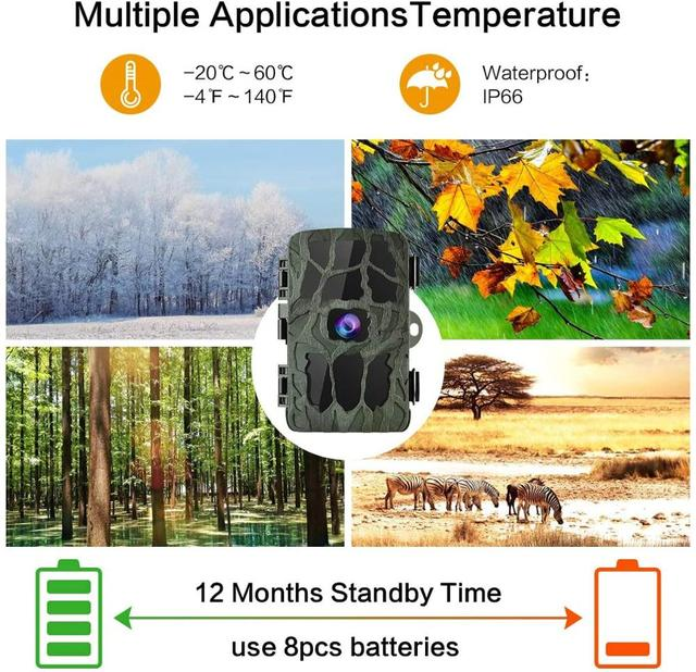 4K Hunting Camera Trap 20MP Infrared Hunt Night Vision Support 256GB Wildlife Photo-trap Hunting Trail Photo Camera Foto Chasse 4