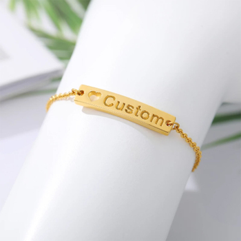 Personalized Custom Name Bracelet Gold Stainless Steel Charm Cuff Bracelets For Women Handmade Bangle Boho Baby Jewelry Gift enfashion personalized custom engrave name bracelet stainless steel flat bar cuff bracelet gold color charm bracelets for women