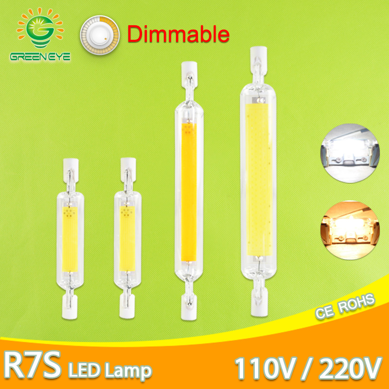 R7S LED Bulb COB Glass Tube 78MM 6W 118MM 15W Dimmable Bulb Replace Halogen Lamp 80W J118 Lamparda Diode Spot Light AC110V 220V