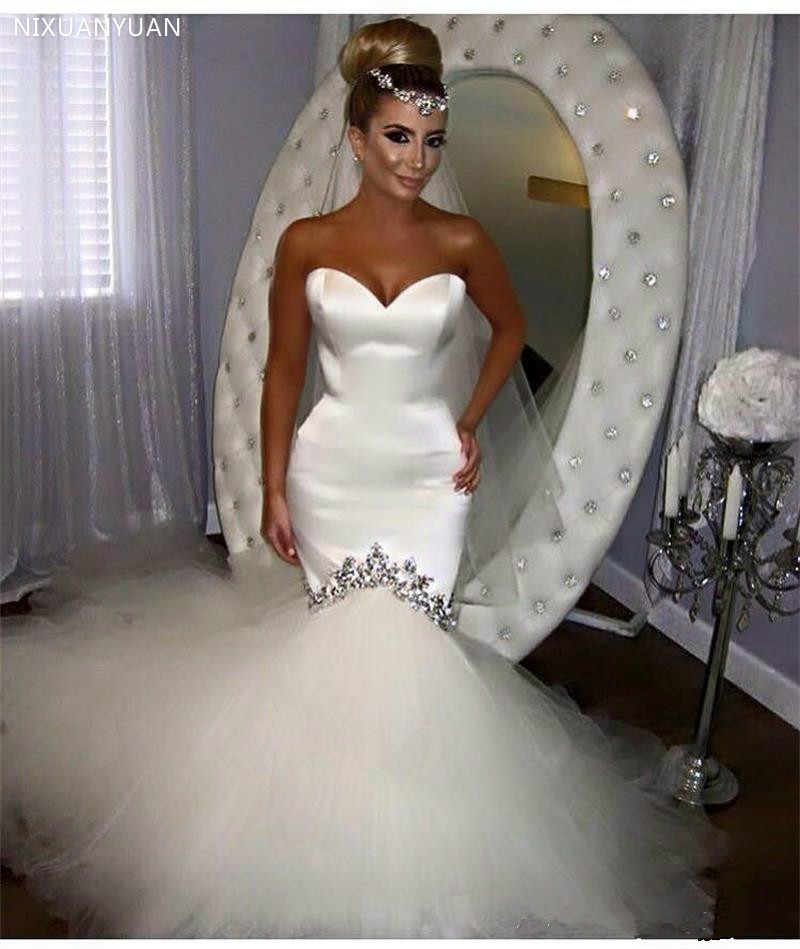 Mermaid Wedding Dress Sweetheart Tulle Satin Vestido De Noiva Robe De Mariage Mermaid Wedding Dresses Bridal Gowns