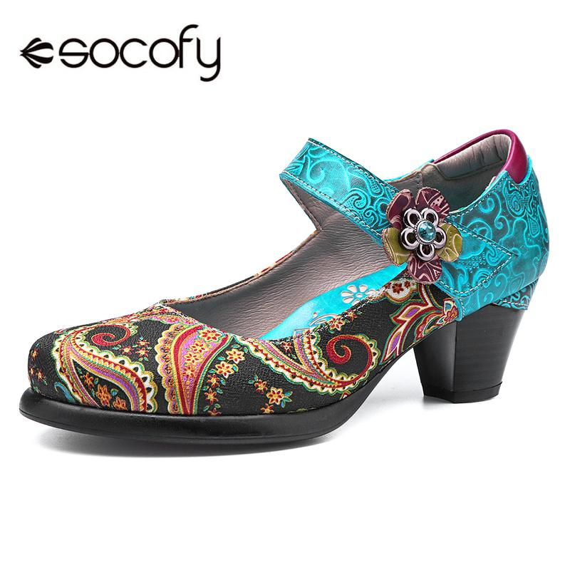 SOCOFY Women Vintage Leather Shoes Handmade Flower Pattern Mary Janes Pumps