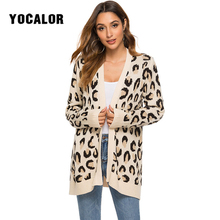 2020 Fashion Leopard Print Knitted Cardigan Female Coat Long Sweater Women  Pull Femme Plus Size Jumper Streetwear Autumn Fall women autumn winter leopard cardigan sweater coat female long sleeve plus size outer knitted tops pull warm thick blue